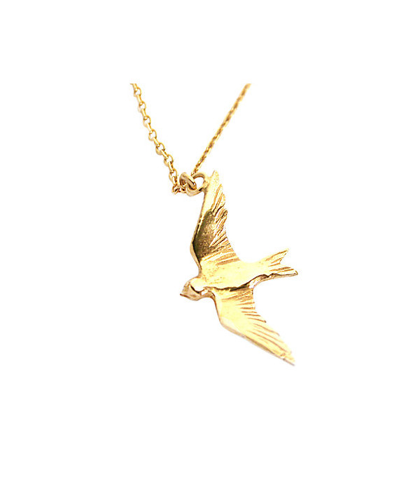 Flying Swallow Necklace - Vermeil