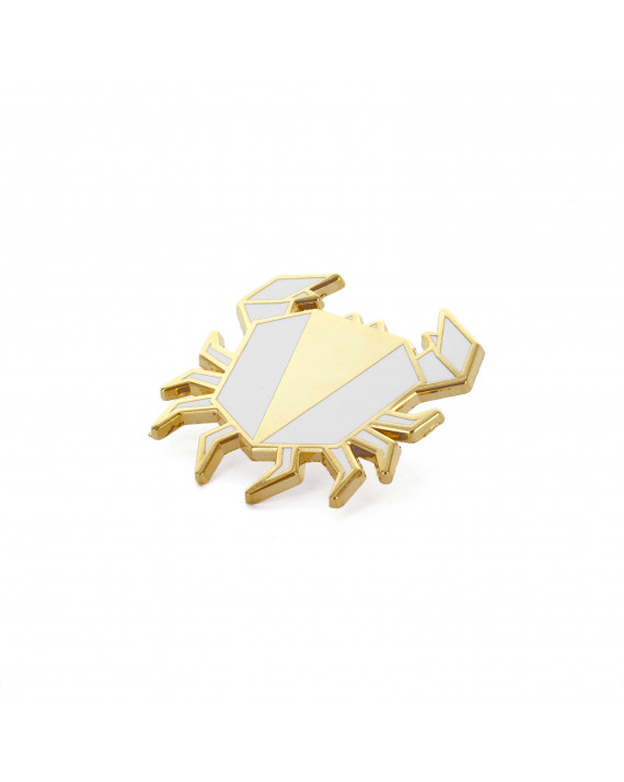 Golden Crab pin - Glossy White