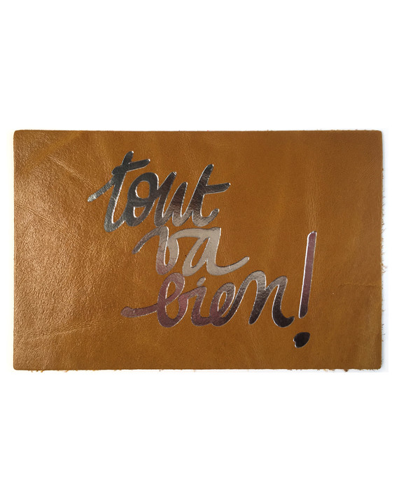 """Leather postcard - """"All is well"""""""