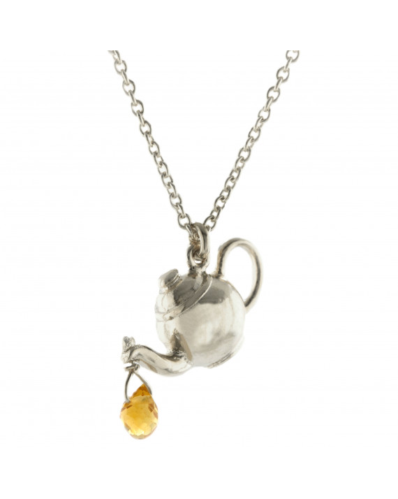 Teapot Necklace in silver with citrine