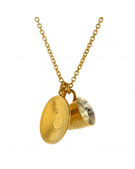 Teacup & Saucer Necklace vermeil