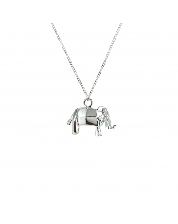 Origami Jewellery Sterling Silver & Pink Gold Mini Elephant Origami Necklace ghFXpjwC