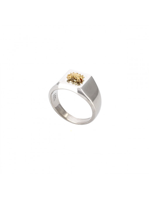 Bague Chevalière Crabe - Argent & Or 14 carats | Origami Jewellery