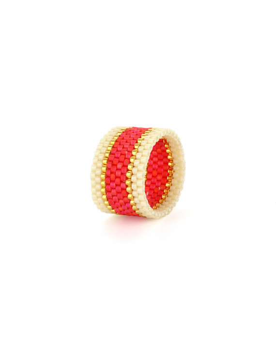 Bague Endito Wide Woven Ring - Corail   Sidai Designs