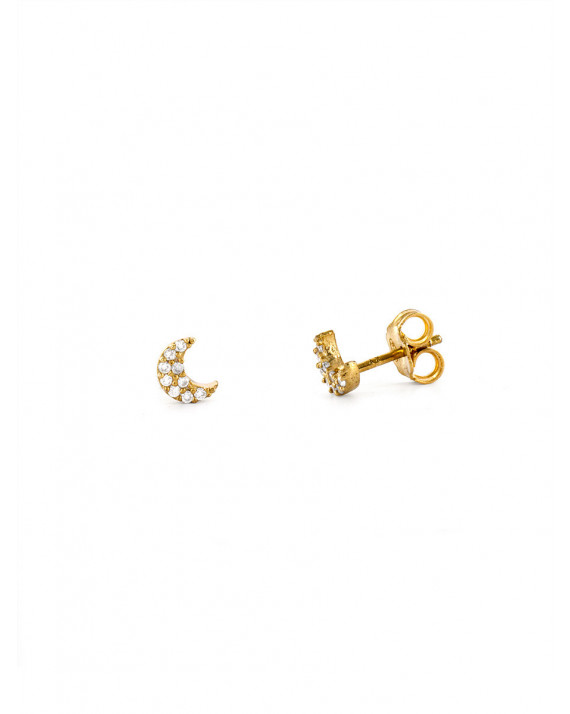 Moon Zirconium Earrings - White | Delphes
