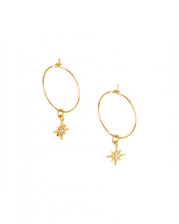 North Star Hoops Earrings - White | Delphes