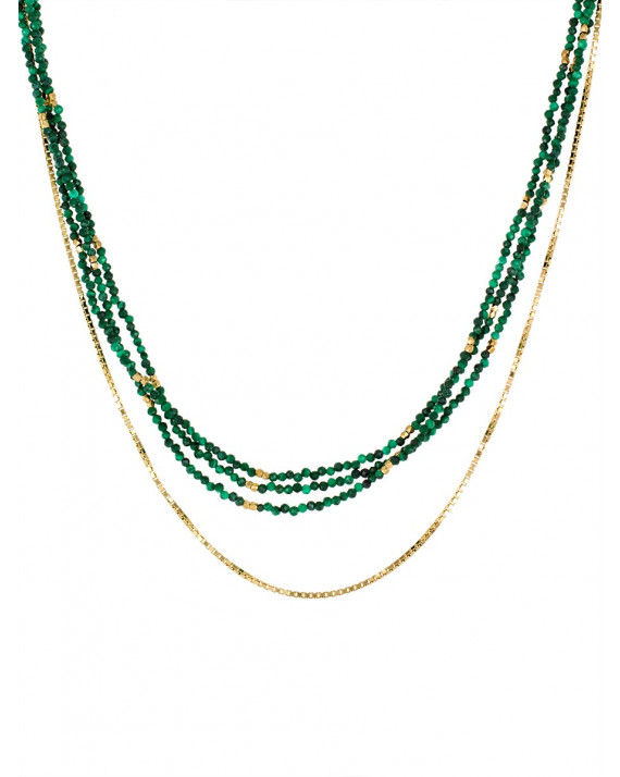 Chic Necklace - Malachite, Gold plated | Stalactite