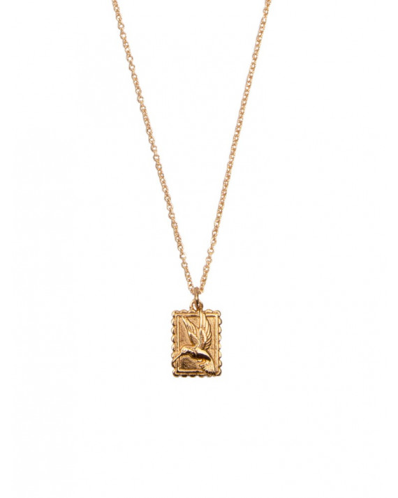 Hummingbird Rectangle Charm Necklace | All The Luck In The World