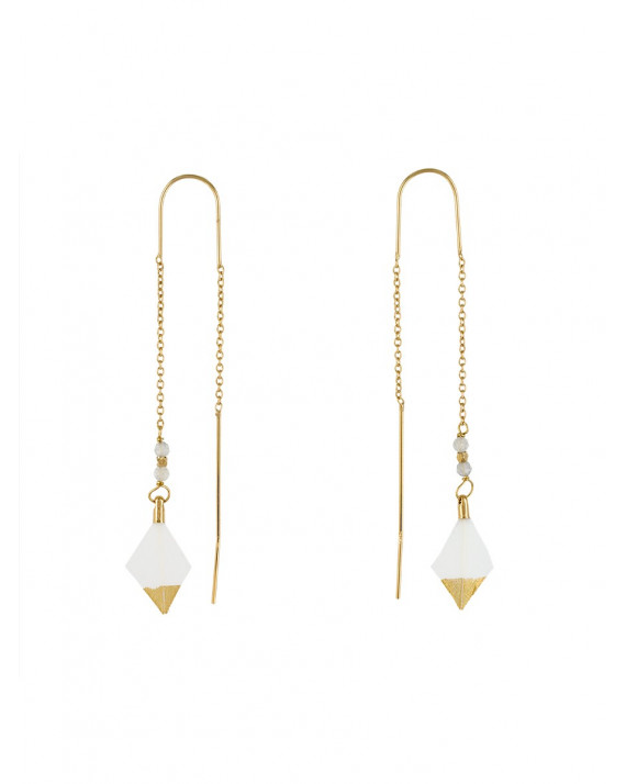 River Parrot Feather Earrings - White | Stalactite