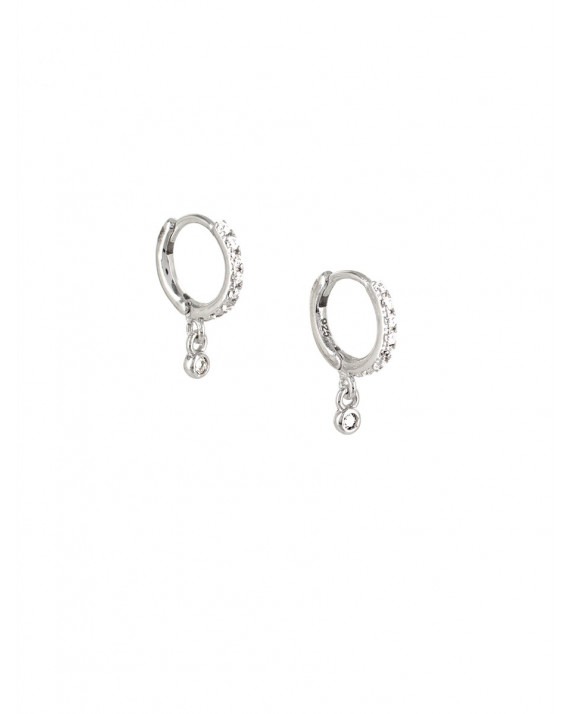 Set Mini Hoop Earrings - Hanging Zirconium - Silver | Rose Marie