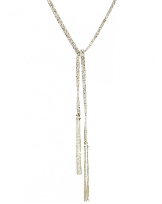 Tie Fringed Necklace - Silver   Marie-Laure Chamorel