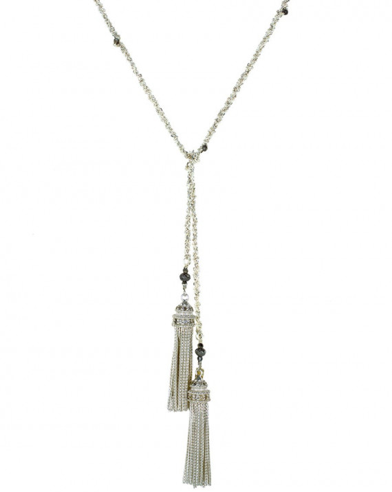 Long Necklace - Silver Chain, Silk & Charms - White | Marie-Laure Chamorel