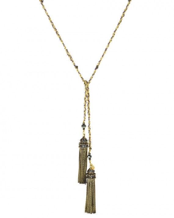 Long Necklace - Gold Plated Chain, Silk & Charms - Grey | Marie-Laure Chamorel