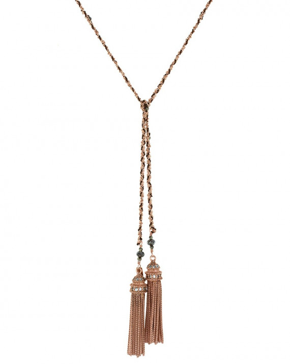 Long Necklace - Rose Gold Plated Chain, Silk & Charms - Brown | Marie-Laure Chamorel