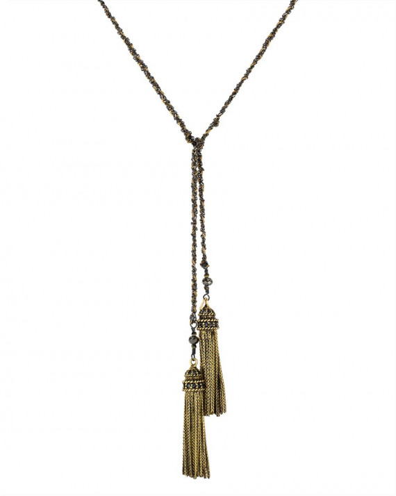 Long Necklace - Ruthenium Chain, Silk & Charms - Lurex | Marie-Laure Chamorel