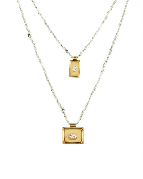 Medal Double Necklace - Silver Chain & Silk - White | Marie-Laure Chamorel