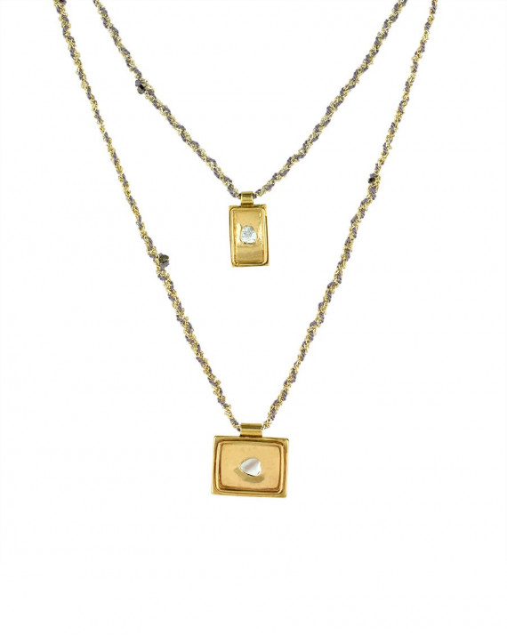 Medal Double Necklace - Gold Plated Chain & Silk - Grey | Marie-Laure Chamorel