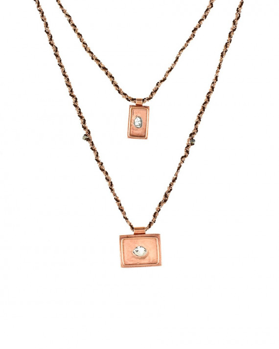 Medal Double Necklace - Rose Gold Plated Chain & Silk - Brown | Marie-Laure Chamorel