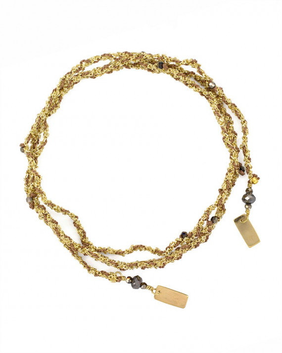 Luxume Bracelet / Necklace - Silk and Gold Chain - Beige | Marie-Laure Chamorel